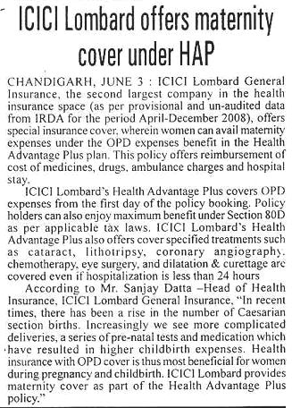 Icici Lombard Offers Maternity Cover Under Hap