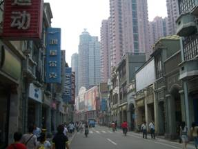Shopping street in the back alleys of the sprawling city of Guangzhou