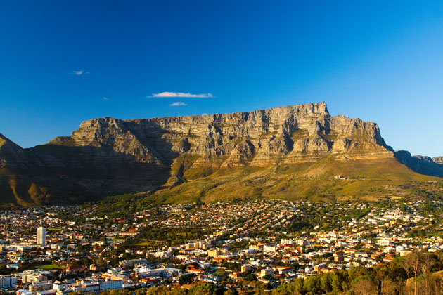 A view of Table Mountain from the city