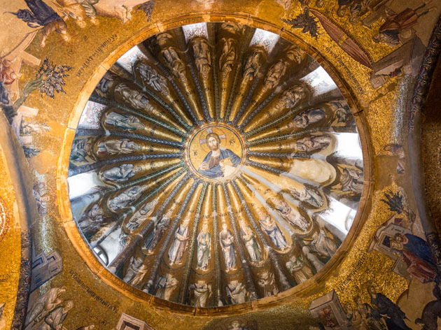A majestic mosaic adorns one of the many domes of the Chora Church, Istanbul