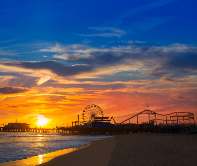 Watch the sunset on the Santa Monica Pier