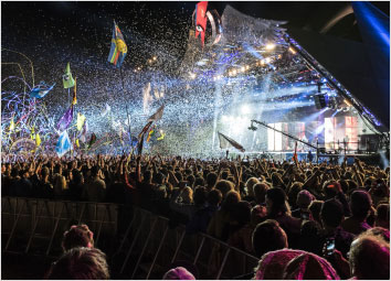 An aerial view of the Glastonbury festival