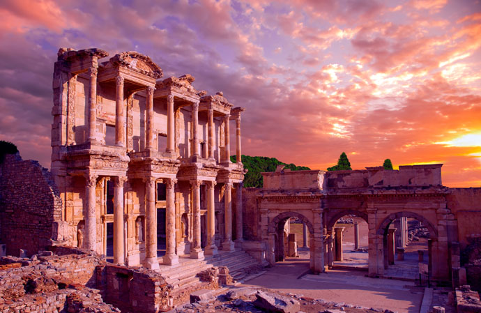 Ephesus is an example of a Roman port city, with a sea channel and harbor basin
