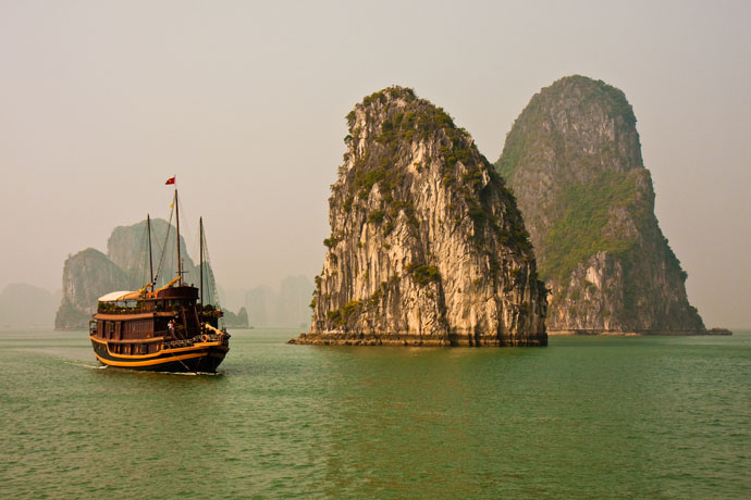 The Ha Long Bay includes 1,960-2,000 islets, most of which are limestone