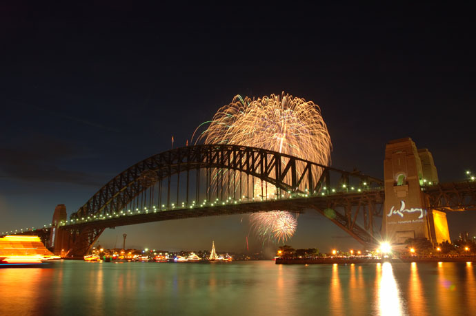 Family-friendly fireworks at 9 pm are a great preview for the super-sized show at midnight at Sydney Harbor Bridge